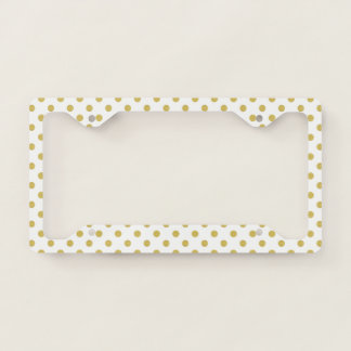 Girly Glitter Gold Polka Dots Pattern Monogram License Plate Frame