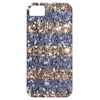 Girly Glitter Look Stripes in Violet Silver Case For The iPhone 5