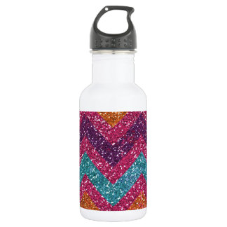 Girly Glitter Print Chevron Stripes Teal Pink 532 Ml Water Bottle
