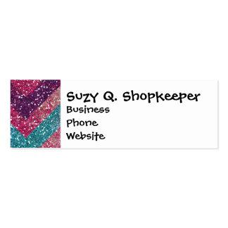 Girly Glitter Print Chevron Stripes Teal Pink Mini Business Card