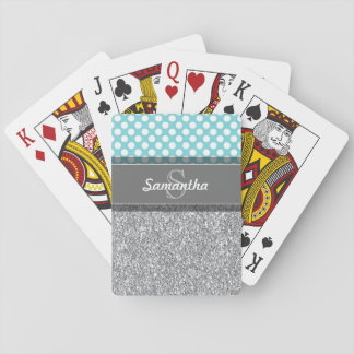 Girly Glitter Print Pattern with Custom Monograms Playing Cards