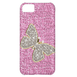 Girly Glitter with Butterfly Case For iPhone 5C