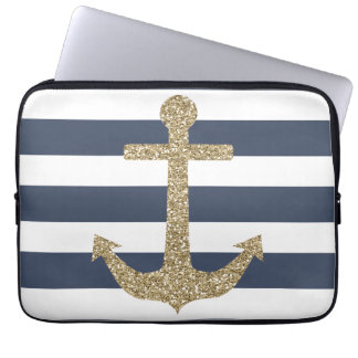 Girly Gold Anchor Striped Laptop Computer Sleeve