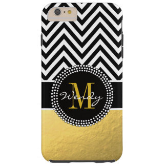 Girly Gold and Black Chevron Monogrammed Tough iPhone 6 Plus Case