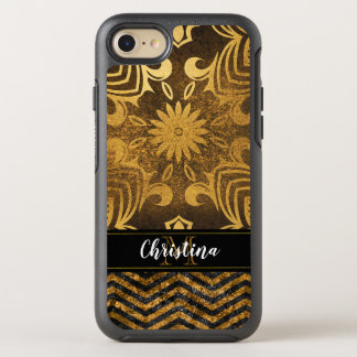 Girly Gold Black Chevron Abstract Elegant Monogram OtterBox Symmetry iPhone 8/7 Case