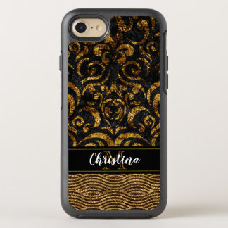 Girly Gold Black Elegant Damask Bling Monogram OtterBox Symmetry iPhone 8/7 Case
