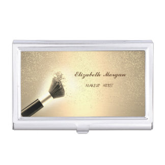 Girly Gold Confetti,Makeup Brush Business Card Holder