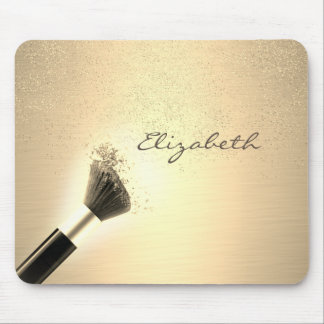 Girly,Gold Confetti ,Makeup Brush ,Personalized Mouse Pad