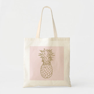 Girly Gold Faux Glitter Pineapple Pink Tote Bag