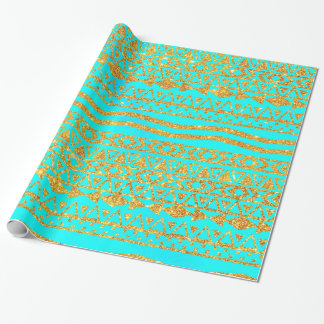 Girly Gold Glitter Aztec Pattern Neon Turquoise Wrapping Paper