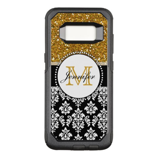 Girly Gold Glitter Black Damask Personalized OtterBox Commuter Samsung Galaxy S8 Case
