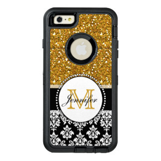 Girly Gold Glitter Black Damask Personalized OtterBox iPhone 6/6s Plus Case