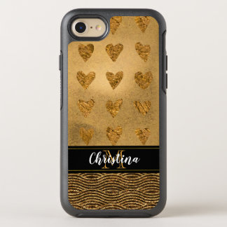 Girly Gold Hearts and Black Elegant Monogram OtterBox Symmetry iPhone 8/7 Case