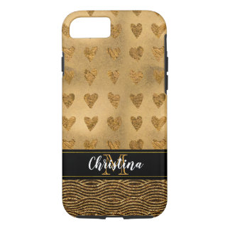 Girly Gold Hearts Black Metallic Elegant Monogram iPhone 8/7 Case