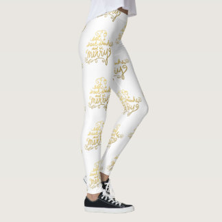 Girly Gold Script Eat, Drink and Be Merry Holiday Leggings