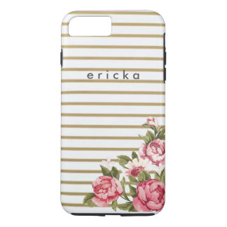 Girly Gold Stripe Rose Personalized Phone iPhone 8 Plus/7 Plus Case