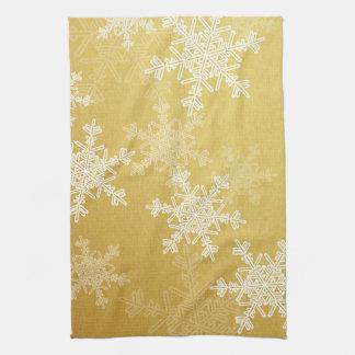 Girly golden and white Christmas snowflakes Kitchen Towel