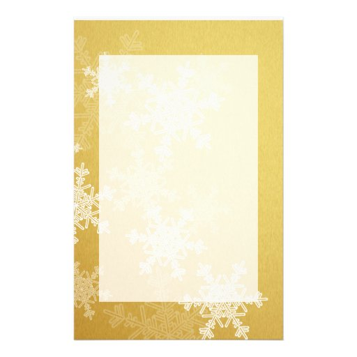 Girly golden and white Christmas snowflakes Stationery Paper