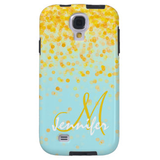 Girly golden yellow confetti turquoise ombre name