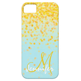Girly golden yellow confetti turquoise ombre name case for the iPhone 5
