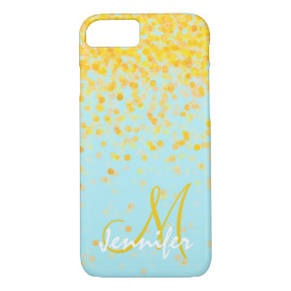 Girly golden yellow confetti turquoise ombre name Case-Mate iPhone case