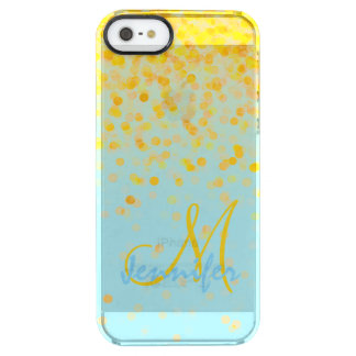 Girly golden yellow confetti turquoise ombre name clear iPhone SE/5/5s case