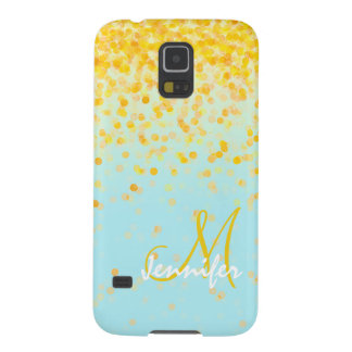 Girly golden yellow confetti turquoise ombre name galaxy s5 cover