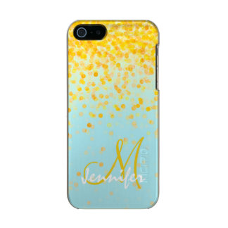 Girly golden yellow confetti turquoise ombre name incipio feather® shine iPhone 5 case