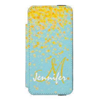 Girly golden yellow confetti turquoise ombre name incipio watson™ iPhone 5 wallet case