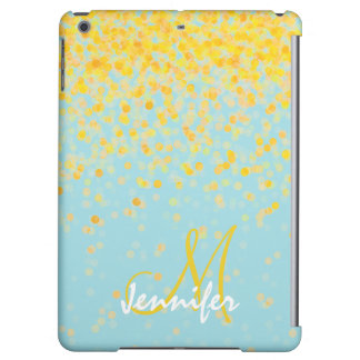 Girly golden yellow confetti turquoise ombre name iPad air covers