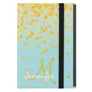 Girly golden yellow confetti turquoise ombre name iPad mini case