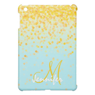 Girly golden yellow confetti turquoise ombre name iPad mini covers