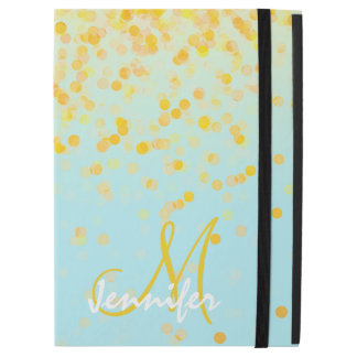 """Girly golden yellow confetti turquoise ombre name iPad pro 12.9"""" case"""