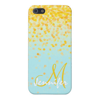 Girly golden yellow confetti turquoise ombre name iPhone 5/5S cover