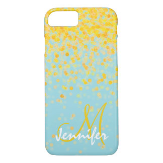Girly golden yellow confetti turquoise ombre name iPhone 8/7 case