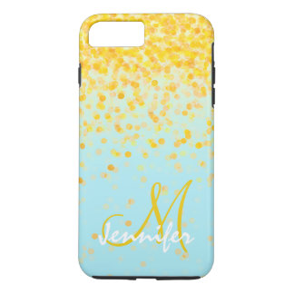 Girly golden yellow confetti turquoise ombre name iPhone 8 plus/7 plus case