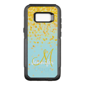 Girly golden yellow confetti turquoise ombre name OtterBox commuter samsung galaxy s8+ case