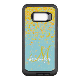 Girly golden yellow confetti turquoise ombre name OtterBox defender samsung galaxy s8+ case