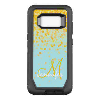 Girly golden yellow confetti turquoise ombre name OtterBox defender samsung galaxy s8 case