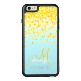 Girly golden yellow confetti turquoise ombre name OtterBox iPhone 6/6s plus case