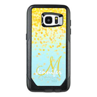 Girly golden yellow confetti turquoise ombre name OtterBox samsung galaxy s7 edge case