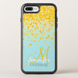 Girly golden yellow confetti turquoise ombre name OtterBox symmetry iPhone 8 plus/7 plus case