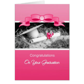 Girly Graduation Congratulations Pink Riboon Greeting Card