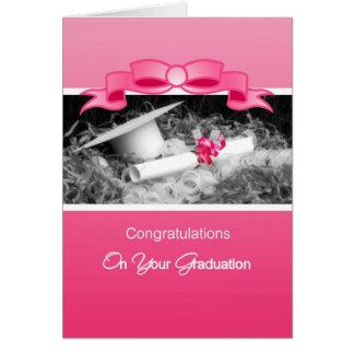 Girly Graduation Congratulations Pink Riboon Greeting Card
