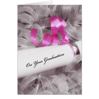 Girly Graduation Congratulations With Pink Ribbon Card