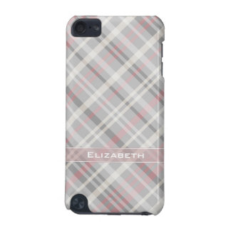 girly gray pink plaid iPod touch (5th generation) case