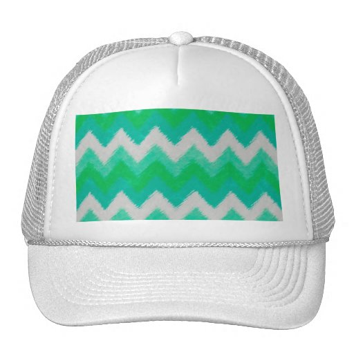 Girly Green and White Bohemian Chevron Pattern Hats