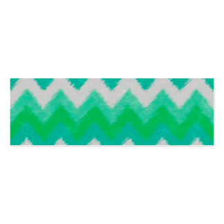 Girly Green and White Bohemian Chevron Pattern Mini Business Card