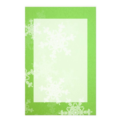 Girly green and white Christmas snowflakes Custom Stationery