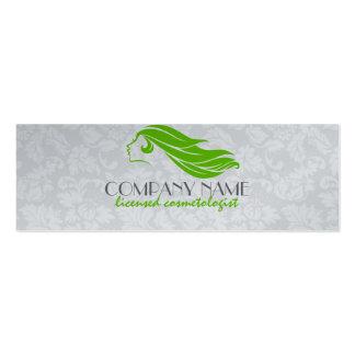 Girly Green And White Damasks Beauty/Cosmetology 2 Mini Business Card